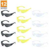 12 PC Safety Glasses Set | Clear, Amber, Smoked Indoor Outdoor ANSI Z87.1