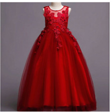 DN832- New Model Of Elegant Long Gown For Kids & Teens - Red