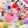 50x Resin Beads Rose Flower Flat Back Embellishment Cabochons Decor Crafting DIY