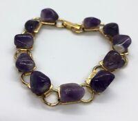 "Vintage Bracelet 8"" Amethyst Stone Purple Gold Tone"
