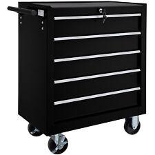 Chariot d'atelier 5 tiroirs à outils servante caisse à roulettes atelier noir