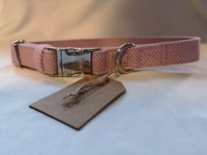 Thoroughbeds Pink Tweed Dog/Puppy Collar Strong Soft Adjustable Fleece Fabric sm