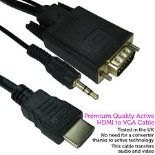 1.8m HDMI to VGA & 3.5mm Monitor Converter Cable–Male PC/TV Audio Video Adapter