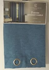 "2 Woven Grommet Panels, Blue 76"" x 96"" by Victoria Classics  NEW * SALE"
