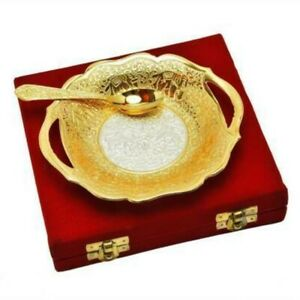 New Brass Silver & Gold Color Decorative Bowl With Spoon For Diwali Gifts