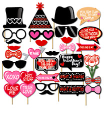 32PCS Valentines Day Wedding Supplies Decoration Photo Booth Party Props Hearts