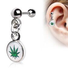 "1 - 16 Gauge 5/16"" Marijuana Pot Leaf Logo Stud Cartilage Dangling Earring A81"