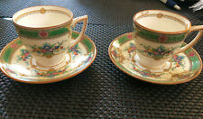 S/2 MINTON B1057 Green Floral Demitasse Cups & Saucers -- EXC