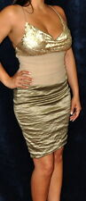 NICOLE MILLER Gold Sequined & Crush Metal Spaghetti Strap Cocktail Dress, Size 2