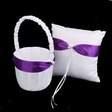 Wedding Satin Crystal Ribbon Bowknot Flower Girl Basket Ring Bearer Pillow