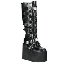 "*Demonia HUGE 5.5"" Matte Black Platform Buckle Metal Plate Gothic Knee Boots 12"