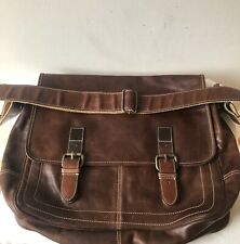 Fossil Men's Messenger Brown Leather Bag Laptop Shoulder