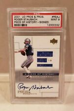 ROGER STAUBACH SIGNED AUTOGRAPHED GAME USED JERSEY 2001 UD PROS & PROSPECTS CARD