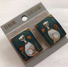 Vintage 1980s Estate Deadstock Cat Antique Cloisonne  Earrings Panel Big 8