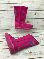 New Skechers Youth Girls 4 Glamslam Pink Boots Rhinestone Sparkle Bow Warm Shoes