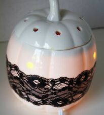 Scentsy Pumpkin Lace  Scented Wax Candle Melter Black White w/Box