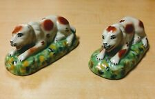 Two RARE Antique Staffordshire Dogs