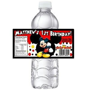 MICKEY MOUSE PERSONALIZED BIRTHDAY PARTY FAVORS WATER BOTTLE LABELS WRAPPERS