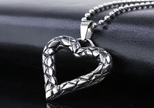 316L Stainless Steel Mens or Women Heart Shape Pendent Necklace with Chain MN50