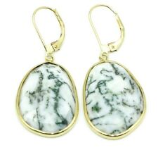 White with Blue Spotted Chalcedony Hanging Earrings,14K Yellow Gold Lever Backs