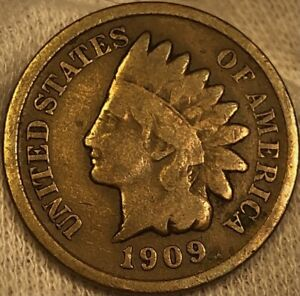 1909-S BRONZE INDIAN HEAD CENT PENNY - VERY LOW MINTAGE KEY DATE SHARP DETAILS!!