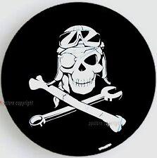 "Popup Camper SPARE TIRE COVER 12"" - 14"" w/ Mechanic Pirate Skull sph-p-7"
