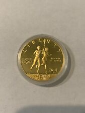 1984 P PROOF OLYMPIC $10 COMMEMORATIVE GOLD COIN AS ISSUED BOX