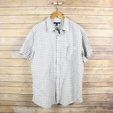BANANA REPUBLIC Men's Linen Blend Short Sleeve Button Front Shirt XL Gray Check