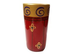 Pier 1 Imports Cylinder Vase Terracotta Hand Painted. Red Gold Blue. Italy.