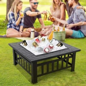 UK Outdoor Garden Fire Pit BBQ Firepit Brazier Square Table Stove Patio Heater