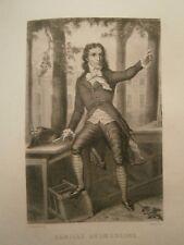Gravure 19°  Portrait  personnage révolution : Camille Desmoulins