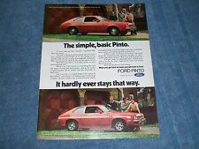 """1973 Ford Pinto Runabout Vintage Ad """"The Simple. Basic Pinto."""""""
