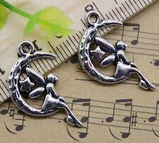Free Shipping 20pcs Jewelry Making DIY Moon Angel Alloy Charm Pendant 26x15mm