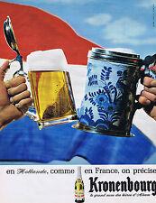PUBLICITE ADVERTISING 064 1965 KRONENBOURG En Hollande comme en France bière