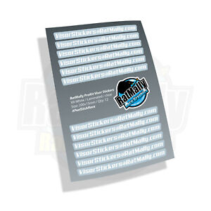 VISOR STICKERS - RatMally ProKit A4 Sheet. 12 Stickers. Race, Track, Street.