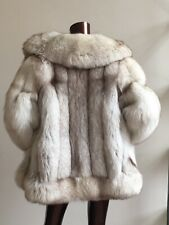 silver shadow  fox grey white snow  arctic luxury fur coat jacket m uk12 uk14