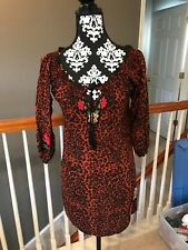 Krista Lee Leopard Embellished Tunic Top Animal Print SIZE Medium