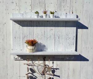 Mensola da parete muro bianca legno due ripiani con ganci Scaffale cucina bagno