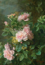C1888 Painting Pink Roses Still Life Shabby French Chic Canvas Print Large
