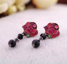 New Fashion Enamel Red Rose Flowers Black Drop Earrings