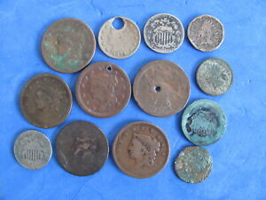 Fantastic Lot (13) Type coins Large cent/nickels/ pennys and 2 cent