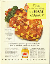 1957-French's Mustard`Easter Ham`Art, Cartoon Pig-Vintage Ad