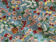 ONE VINTAGE FEEDSACK  BLUE w/ BUTTERFLIES Lilly of Valley FLOWERS  37x45 sm tear
