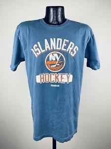 Men's Reebok NHL New York Islanders Blue Pigmant Dyed SS Shirt Medium NWOT