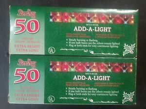 Vtg Dead-Stock Strand Lights MULTI-Color Extra Bright Sterling Lot of 2 *50 each