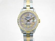 ROLEX DATEJUST GOLD & STEEL DIAMOND SET, MOTHER OF PEARL DIAL, REF, 69173