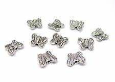 10 Metallperlen Schmetterling, silberfarben,10 mm, Perlen basteln, verzieren
