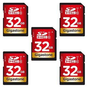 Gigastone 32GB SD Card (5 Pack) UHS-I U1 Class 10 SDHC Memory Card FHD Video
