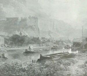 EDINBURGH CASTLE FROM THE CANAL c1896 original wood engraved print