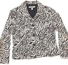 Womens Blazer Jacket Small S Lightweight Button Front Casual Brown Zebra Animal